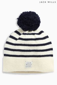 Jack Wills Stripe Faux Fur Pom Pom Hat