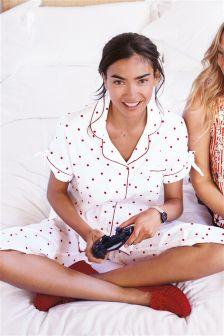 Cotton Spot Button Through Pyjamas