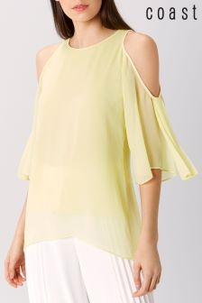 Coast Lime Anaya Cold Shoulder Top