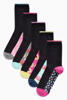 Sweets Print Footbed Ankle Socks Five Pack