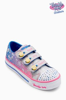 Skechers® Girls Twinkle Toes Lighted Emoji Triple Strap Sneaker