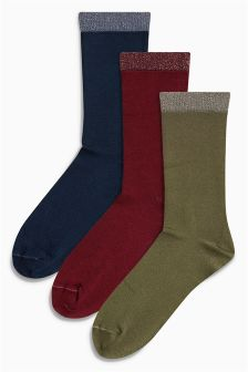 Sparkle Trim Ankle Socks Three Pack