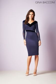 Gina Bacconi Navy Justine Velvet Panel Dress