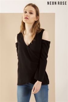 Neon Rose Black Cold Shoulder Wrap Blouse