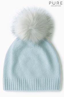 Pure Collection Blue Cashmere Faux Fur Pom Hat