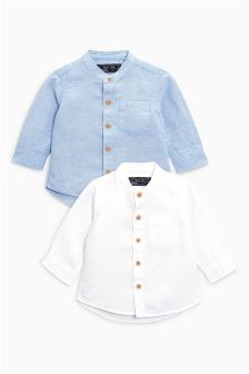 Long Sleeve Linen Rich Shirts Two Pack (3mths-6yrs)