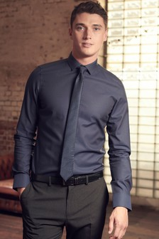 Textured Tonic Shirt And Tie Set
