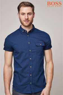 BOSS Navy Elibre Short Sleeve Shirt