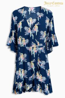 Juicy Couture Blue Parrot Print Wrap Over Dress