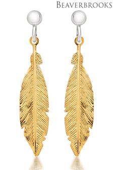 Beaverbrooks Silver And Gold Plated Feather Drop Earrings