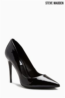 Steve Madden Black Patent Daisie Pointed Court Shoe