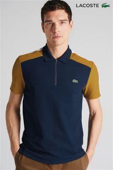 Lacoste® Navy/Yellow Half Zip Polo