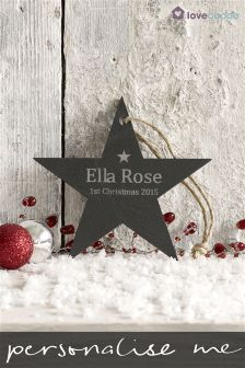 Personalised Real Slate Star Decoration By Loveabode
