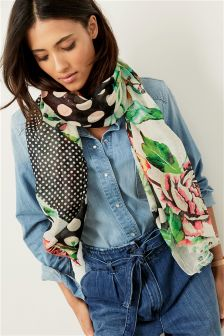 Spot And Floral Print Scarf