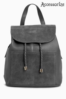 Accessorize Grey Cara Leather Backpack