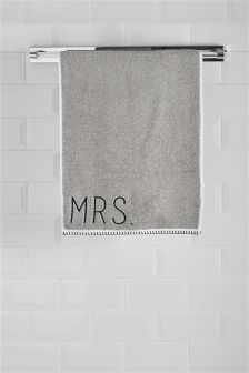 Mr And Mrs Monochrome Mix And Match Hand Towel