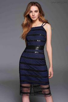 Gina Bacconi Black Shannon Sequin Guipure Dress