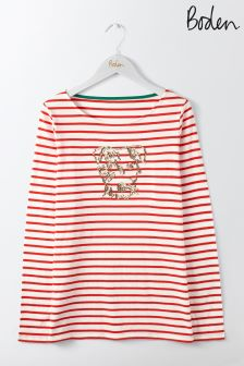 Boden Damask Red Sequin Sprout Breton