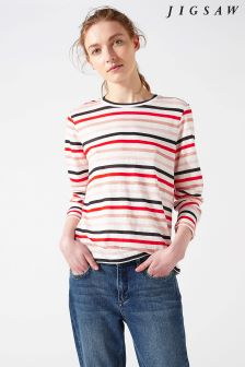Jigsaw Pink Linen Stripe Top