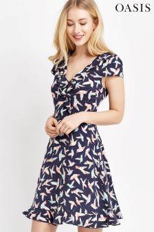 Oasis Navy Hummingbird Tea Dress