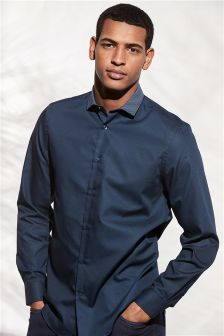 Textured Contrast Collar Slim Fit Shirt