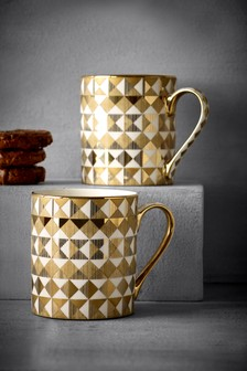 Set Of 2 Gold Effect Diamond Mugs