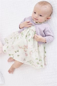 All Over Print Prom Dress And Cardigan Set (0mths-2yrs)