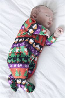 Christmas Print Sleepsuit (0mths-3yrs)