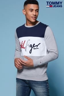 Tommy Jeans Grey Colourblock Sweatshirt