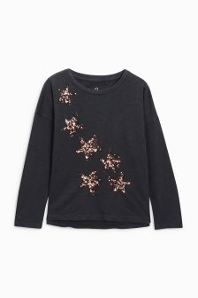 Star Sequin Long Sleeve Top (3-16yrs)