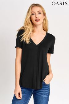 Oasis Black V-Neck Top