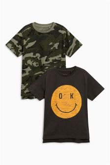 Smile Face/Camo T-Shirts Two Pack (3-16yrs)