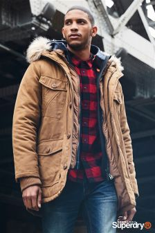 Superdry Brown Everest Wax Parka Jacket