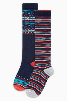 Fairisle Pattern Welly Socks Two Pack (Younger Boys)