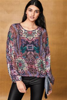Print Long Sleeved Embellished Top