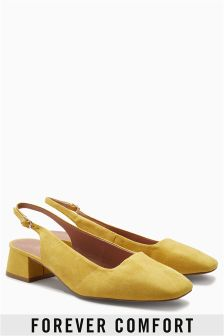 Square Toe Slingback Court Shoes