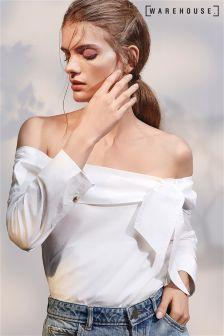 Warehouse White Tie Front Bardot Top