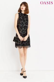 Oasis Silver Metallic Lace Shift Dress