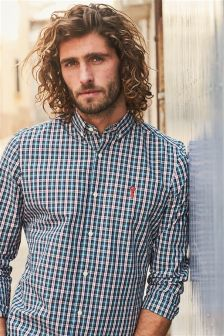 Long Sleeve Check Poplin Shirt