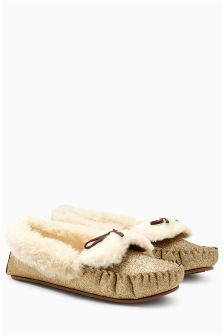 Glitter Moccasin Slippers