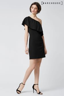 Warehouse Black Crepe One Shoulder Dress