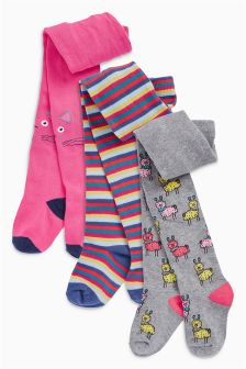 Colourblock Animal Tights Three Pack (0mths-6yrs)
