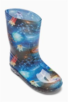 Galaxy Print Wellies (Younger Boys)