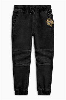 Jersey Denim Biker Joggers With Keyring (3-16yrs)