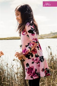 Joules Pink Floral Trapeze Dress