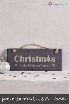 Personalised Christmas Real Slate Sign By Loveabode