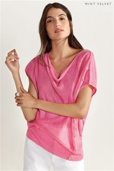 Mint Velvet Peony Asymmetric Button Detail Slouchy Knit Tee