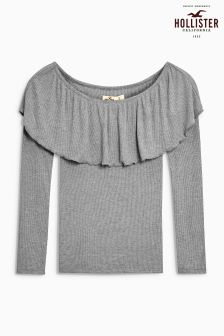 Hollister Grey Off The Shoulder Frill Top