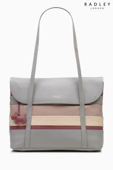 Radley Striped Grey Pembroke Flap Over Tote Bag