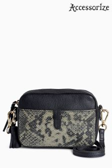 Accessorize Black Darcy Leather Snake Camera Bag